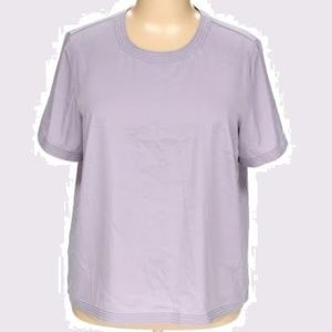 Lavender Case Stitched Hems Short Sleeve Blouse